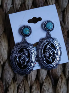WESTERN COWGIRL BRONC RIDER POST EARRINGS