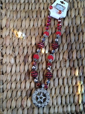 ONE OF A KIND HANDMADE TEXAS STAR CRYSTAL BEADED NECKLACE AND EARRING SET