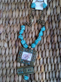 VINTAGE STYLE COWGIRL AND HORSE PENDANT ON TURQUOISE STONE NECKLACE EARRING SET