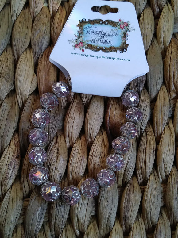 LIGHT PINK SWAROVSKI CRYSTAL BEAD BEACELET