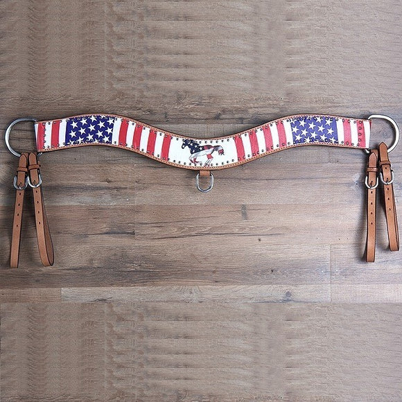 FLAG RUNNING HORSE PRINT LEATHER TRIPPING COLLAR