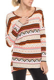 TRIBAL PRINT KNIT SWEATER TOP