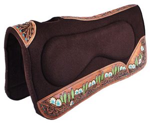 LONGHORN AND CACTUS HAND TOOLED SIDE WARES FELT BUILT UP SADDLE PAD