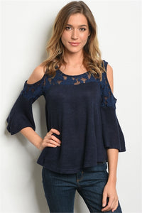 OPEN SHOULDER LACE NAVY BLUE TOP