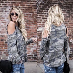ARMY PRINT OPEN SHOULDER TOP