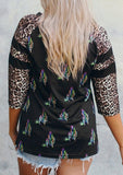 CACTUS PRINT WITH LEOPARD PRINT SLEEVE TOP