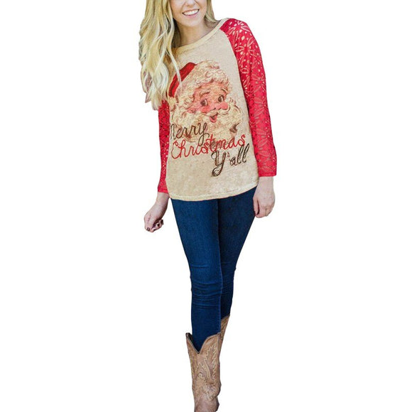 Merry Christmas Ya'll Santa 3/4 Sleeve T-Shirt