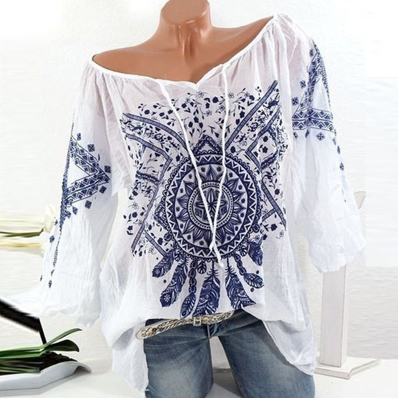 TRIBAL AND FEATHER PRINT DREAM CATCHER BLOUSE