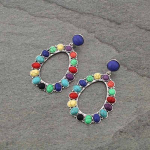 TRIBAL WESTERN  BOHEMIAN STONE DROP HOOP POST EARRINGS