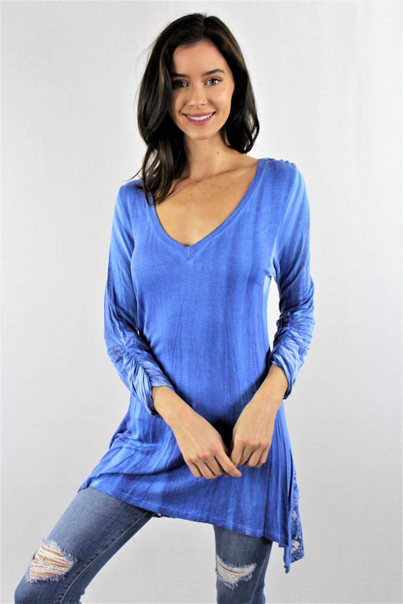 BLUE LACE BACK, 3/4 ROUCHED CUFF SLEEVE, TIE DYE WASH TUNIC TOP