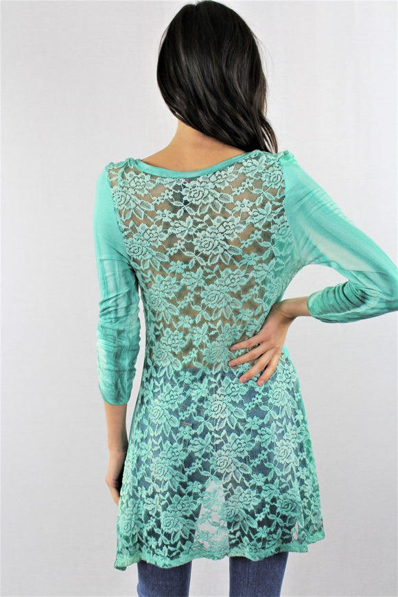 TEAL LACE BACK, 3/4 ROUCHED CUFF SLEEVE, TIE DYE WASH TUNIC TOP