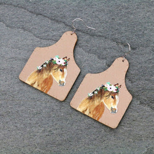 HORSE AND FLOWERS TAG STYLE LEATHER EARRINGS