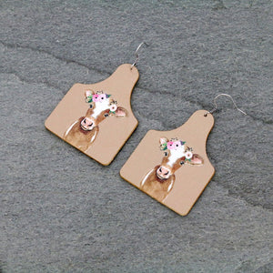 COW AND FLOWERS LEATHER TAG STYLE EARRINGS