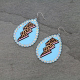 CHEETAH / LEOPARD PRINT LIGHTNING BOLT DROP IN TURQUOISE OR WHITE