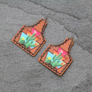 CACTUS TAG STYLE LEATHER EARRINGS