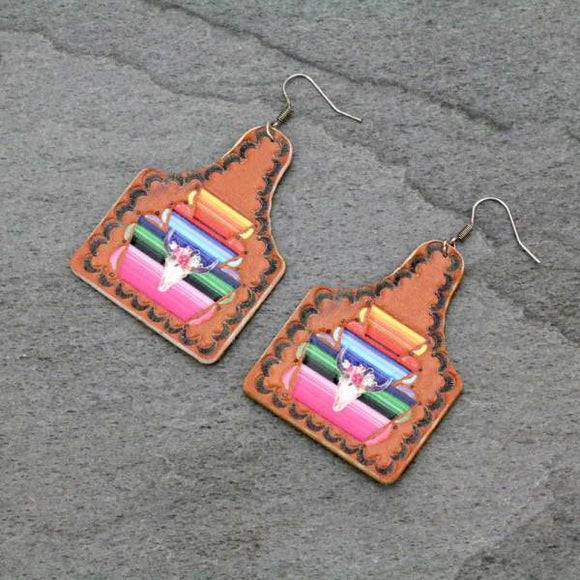 LONGHORN / STEER HEAD SERAPE TAG STYLE LEATHER EARRINGS