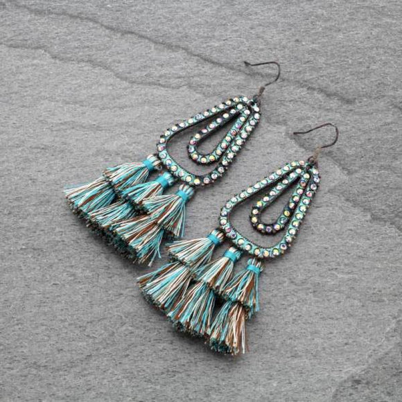 Teal Double Tassel Earrings with Crystals