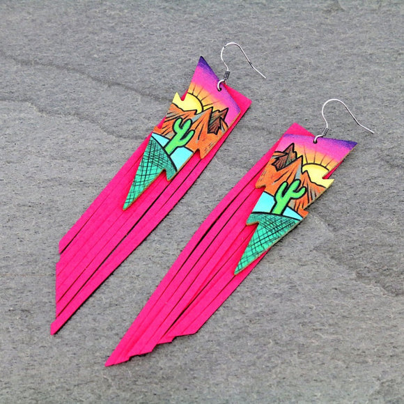 CACTUS AND DESERT MOON TASSEL EARRINGS CHOOSE COLOR