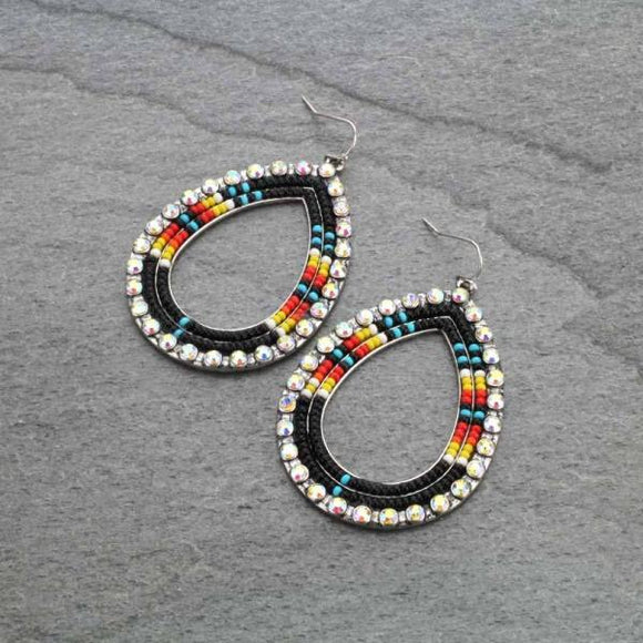 BEADED COUNTRY TRIBAL DROP EARRINGS LINED WITH AB CRYSTALS