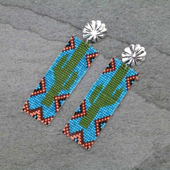 BEADED CACTUS TRIABL POST EARRINGS