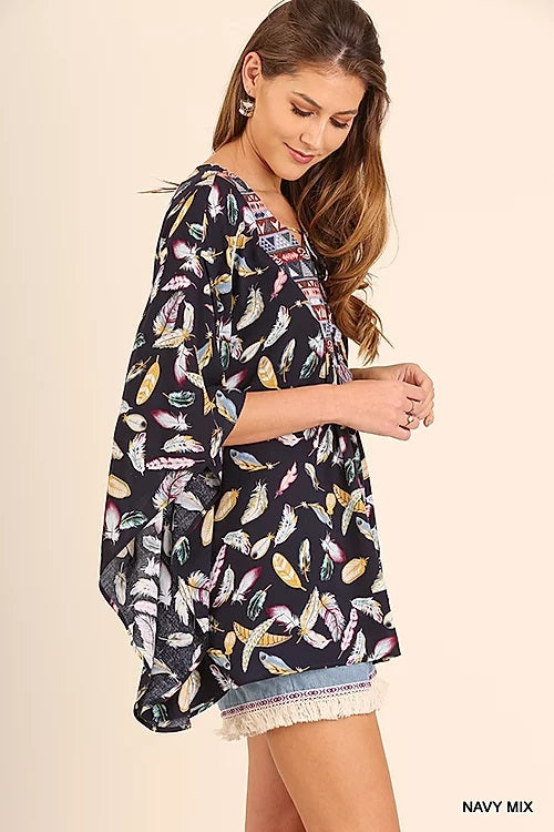 FEATHER PRINT TRIBAL TOP BLOUSE BY UMGEE