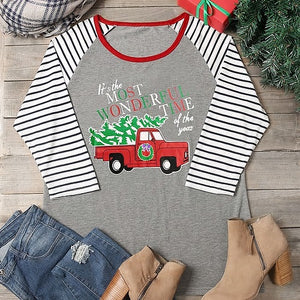 """MOST WONDERFUL TIME OF THE YEAR"" VINTAGE TRUCK HOLIDAY T-SHIRT"