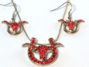 RED SWAROVSKI CRYSTAL WESTERN LONGHORN NECKLACE SET