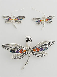 METALLIC AND CRYSTAL DRAGONFLY MAGNETIC PENDANT AND EARRING SET