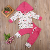 BABY GIRLS 100% COTTON BUCK/DEER PRINT 2 PC HOODIE OUTFIT