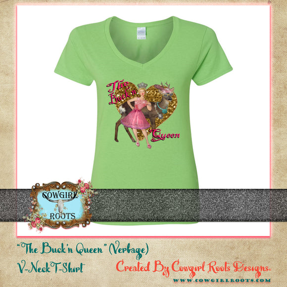 THE BUCK'N QUEEN V NECK COTTON T SHIRT (VERBAGE)