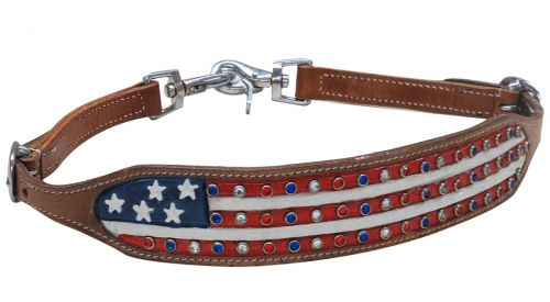 PATRIOTIC PAINTED WITH CRYSTAL BLING ACCENTS WITHER STRAP