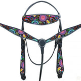 PAISLEY PATTERN BRIGHT BRIDLE SET MEDIUM OR BLACK LEATHER
