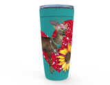 "20 oz ""CLASSY BUCK N' SUNFLOWER"" HOT OR COLD STAINLESS STEEL TRAVEL TUMBLER"
