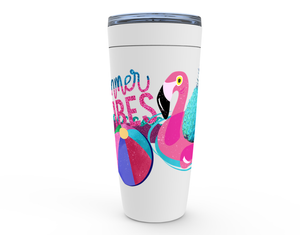 "20 oz ""PINEY & MR. PINKS SUMMER VIBES"" HOT OR COLD STAINLESS STEEL TRAVEL TUMBLER"