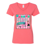 """SASSY CLASSY NEVER TRASHY"" V-NECK COTTON T-SHIRT"