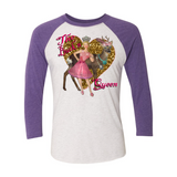 """THE BUCK'N QUEEN"" 3/4 SLEEVE COTTON T-SHIRT (VERBAGE)"