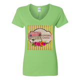 COWGIRL CASTLE V NECK COTTON T SHIRT