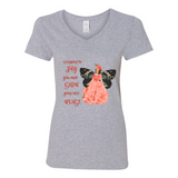 """FLY GROW WINGS"" V-NECK COTTON T-SHIRT"