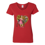 BUCK'N QUEEN V NECK COTTON T SHIRT