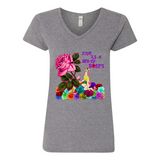 """LIFE IS A BED OF ROSES"" V-NECK COTTON T-SHIRT"