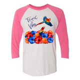 TROPICAL VIBES 3/4 SLEEVE COTTON T-SHIRT