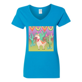 THE LONE LLAMA V NECK COTTON T SHIRTS