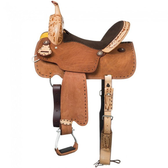 YOUTH/PONY ROUGHOUT BARREL SADDLE WITH BUCKSTITCH AND GORGEOULSY WESTERN TOOLED ACCENTS