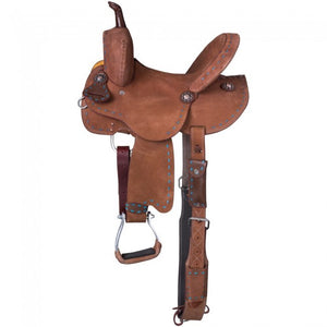 "10"" AND 12"" YOUTH/PONY ROUGHOUT BARREL SADDLE WITH TURQUOISE BUCKSTITCH"