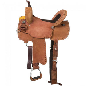 "14"" 15"" AND 16"" ROUGHOUT BARREL SADDLE WITH SUEDE INLAY SEAT AND BUCKSTITCH"