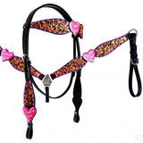 TRUE LOVE PINK METALLIC HEART AND BUCKSTITCH TWO TONE BRIDLE SET