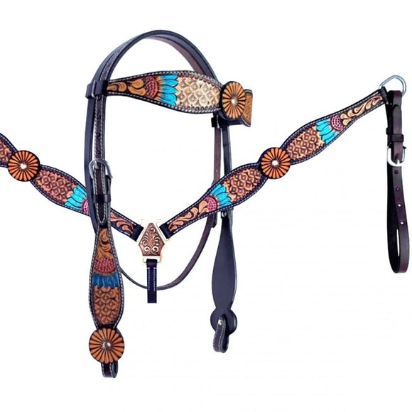 SUNFLOWER BRIDLE SET WESTERN BOHEMIAN STYLE