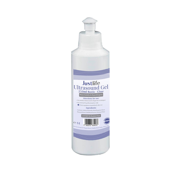 Justlife Ultrasound Gel 250ml (Clear) Case of 40