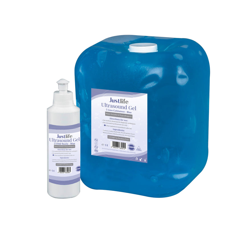 Justlife Ultrasound Gel 5 Litre Cubitainer With Refill Bottle (Blue), Case of 4