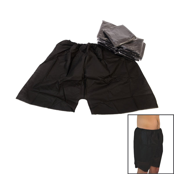 Disposable Men Shorts Black, Case of 30